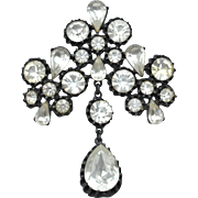 Vintage Large Clear Rhinestone Pin With Dangling Stone