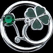 Vintage Signed MIZPAH 4 Leaf Clover Pin, Enamel and Stone