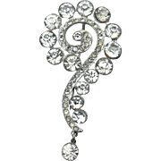 Early Vintage Question Mark Rhinestone Pin, Dangling End