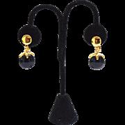Vintage Signed CROWN TRIFARI Jet Black Waterfall Earrings