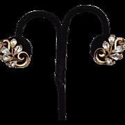 Vintage Signed CROWN TRIFARI Teardrop Shaped Rhinestone Earrings