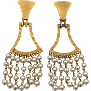 Vintage Signed Italy BIJOUX CASCIO Long Runway Dangling Faux Pearl Clip Earrings