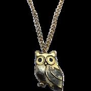 Vintage Hallmarked STERLING SILVER Enameled Owl Pendant