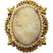 Vintage Signed FLORENZA Hand Carved Shell Cameo Pin Pendant Combo