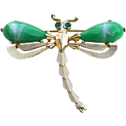 Vintage Signed CROWN TRIFARI Green Glass Dragonfly Pin