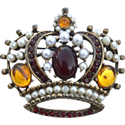 Vintage Signed WEISS Large Crown Pin, Faux Pearls, Glass Cabs, Rhinestones