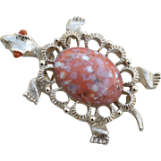 Vintage Signed GERRY'S Faux Coral Jelly Belly Turtle Pin