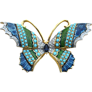 Rare Large Size Signed JOMAZ Butterfly Pin, Enamel, Faux Turquoise Cabs, Rhinestones
