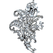 Early Signed TRIFARI Large Rhinestone Fur Clip, Lily Of the Valley, Flowers