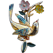 Early Signed MONET Enameled Bird and Flower Fur Clip