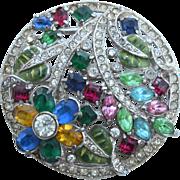 Early Vintage 1930-1940 Multi Color Rhinestone Pin
