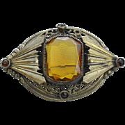Victorian Era Pin, Large Citrine Colored Glass Stone, Paste Stones