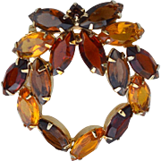 Vintage DeLizza and Elster (Juliana) Shades of Autumn Rhinestone Pin