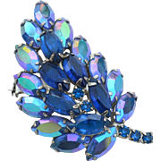 Vintage DeLizza and Elster (Juliana) Tiered Blue and Blue Aurora Borealis Rhinestone Pin