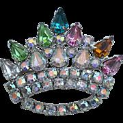Vintage Rhinestone Encrusted Crown Pin