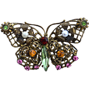 Vintage Butterfly Pin, Faux PEarls and Rhinestones, Filigree