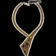 Vintage Signed HOBE Runway Necklace, Wrap Style, Amber Green  Orange Rhinestones