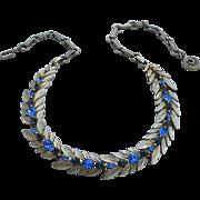 Vintage Signed LISNER Sapphire Blue Rhinestone Necklace