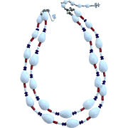 Vintage Signed VENDOME Red White and Blue Patriotic Glass Bead Double Strand Necklace