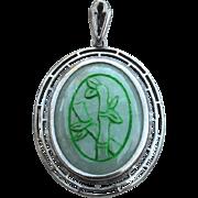 Vintage Hallmarked STERLING SILVER Jade Pendant