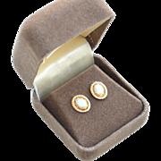 Hallmarked 14K Yellow Gold Opal Earrings