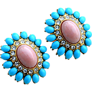 Vintage Signed KENNETH JAY LANE Faux Turquoise and Coral Cab Earrings with Rhinestones, Large Size