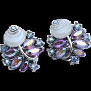 Vintage Signed CROWN TRIFARI Pink Aurora Borealis Molded Glass Flower Rhinestone Earrings