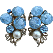 Vintage Signed KRAMER Blue Art Glass and Rhinestone Clip Earrings, Faux Pearls