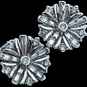 Vintage Signed CROWN TRIFARI Clear Rhinestone Earrings, Snowflake, 1949, Pat 155214