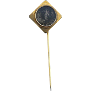 Victorian Era Gold Filled Moss Agate Stickpin Stick Pin