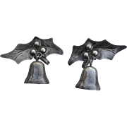 Early Vintage Hallmarked STERLING MEXICO Holly Bells Earrings
