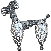 Vintage Hallmarked BB 800 Sterling Silver Poodle Pin, Rhinestone Accents