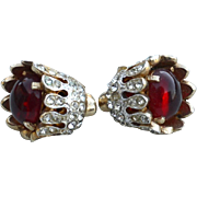 Early Vintage Red Glass Drop Flower Earrings With Clear Rhinestones