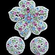 Vintage White Enameled Metal Flower Pastel Rhinestone Demi, Pin Clip Earrings
