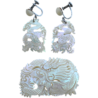 Early Vintage Carved Dragon Ethnic Mother Of Pearl Demi, Earrings and Pin
