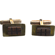 Early Vintage Hallmarked 12K Gold Filled Mid Century Modernist Cufflinks, Wood