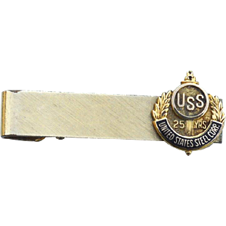Vintage Hallmarked 12K Gold Filled Metal Tie Clip Bar, USS 25yrs, United States Steel