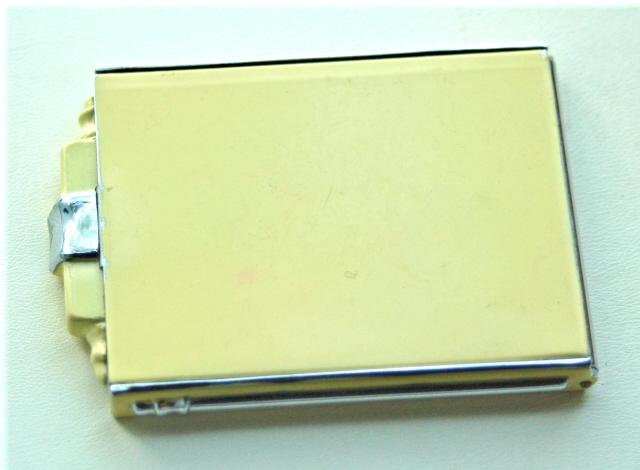 "Cream Colored  Enamel and Chrome Compact, ""Premier by Evans"" Made in Austria"