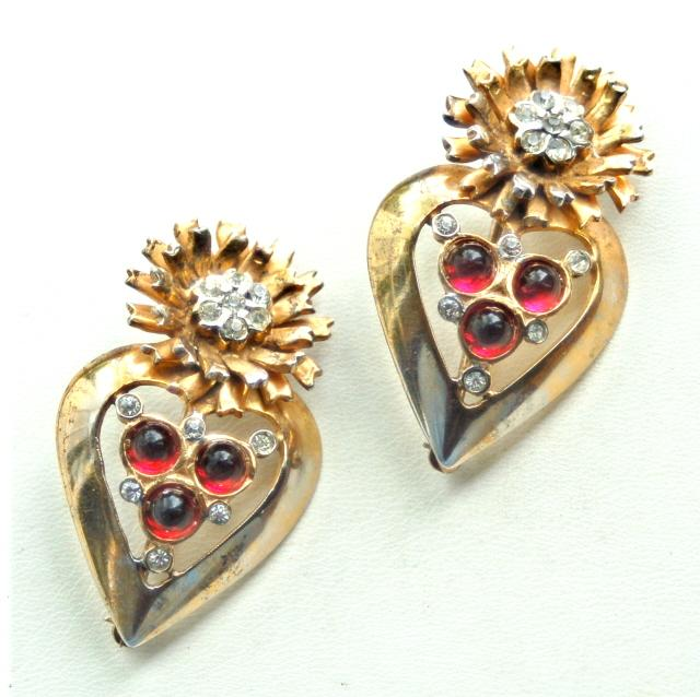 Hallmarked Sterling Silver Pair of Pins, Gold Wash With Red Glass and Clear Rhinestones