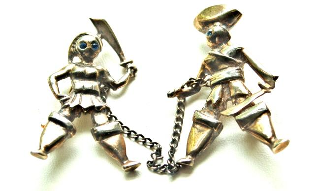 STERLING Silver Figural Pirate Man and Woman Chatelaine Pin