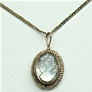 Early 800 Silver Mother of Pearl Cameo Necklace