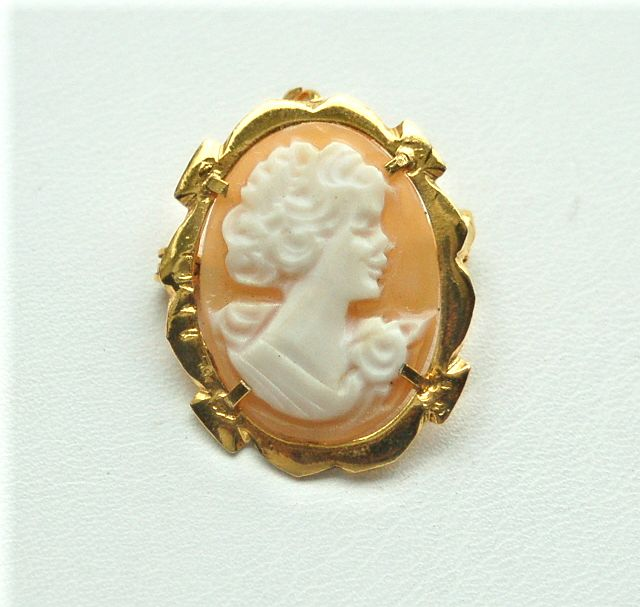 Hallmarked 800 Hand Carved Shell Cameo Pin Pendant