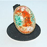 "Enormous EASTER EGG Adjustable Vintage Ring, 1 3/4"" long"