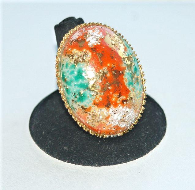 "Enormous EASTER EGG Adjustable Vintage Ring, 1 3/4"" long"