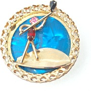Vintage Signed HOBE' Rhinestone Gondola and Man Figural Pin