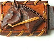 Early 1930's Carved Wood Horse Head With Leather Trim