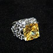 Gigantic Vintage Costume Cocktail Ring, Huge Yellow Stone