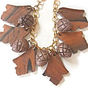 Early Chunky Deep Carved Wood Acorn and Leaf Dangling Necklace