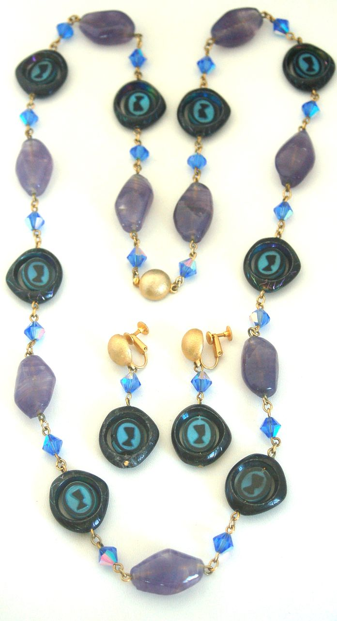 Vintage Spinning Nefertiti Glass Bead Necklace and Clip Earrings Demi