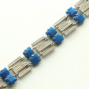 Early Signed CZECHOSLOVAKIA Blue Faux Lapis Glass and Rhodium Plate Bracelet